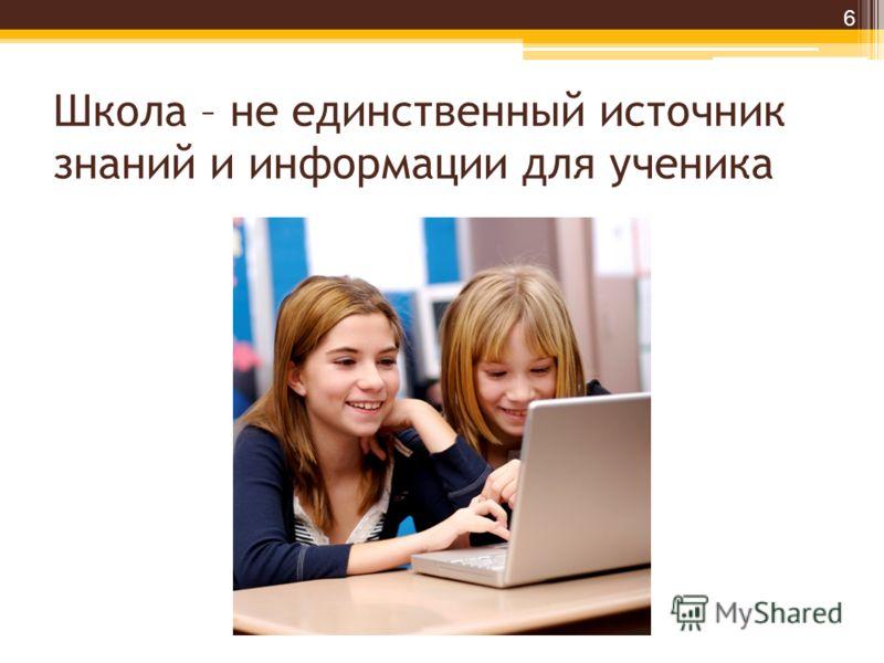 Школа – не единственный источник знаний и информации для ученика 6