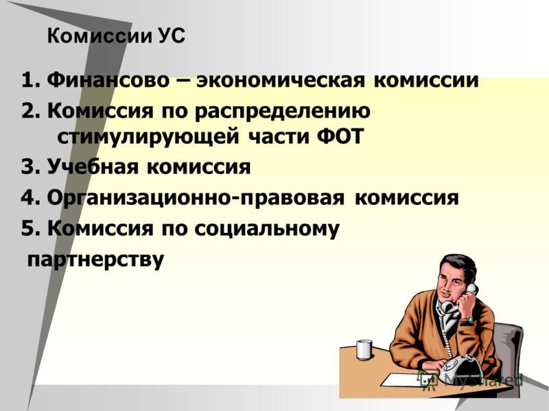 Комиссии УС 1. Финансово – экономическая комиссии 2. Комиссия по распределению стимулирующей части ФОТ 3. Учебная комиссия 4. Организационно-правовая комиссия 5. Комиссия по социальному партнерству