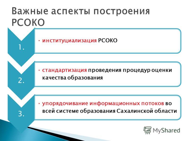 1. институциализация РСОКО 2. стандартизация проведения процедур оценки качества образования 3. упорядочивание информационных потоков во всей системе образования Сахалинской области
