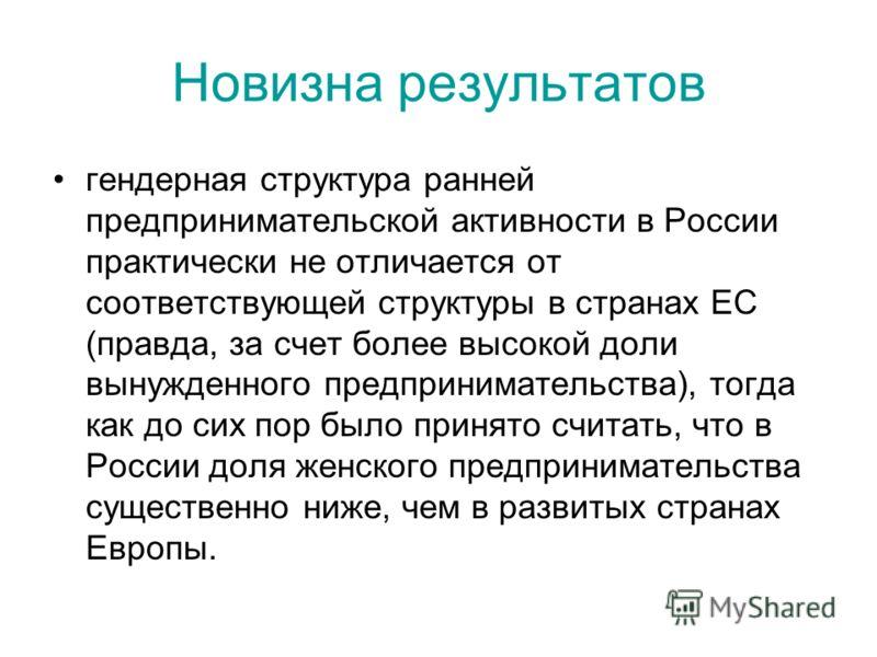 Новизна результатов гендерная структура ранней предпринимательской активности в России практически не отличается от соответствующей структуры в странах ЕС (правда, за счет более высокой доли вынужденного предпринимательства), тогда как до сих пор был
