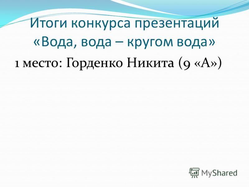 Итоги конкурса презентаций «Вода, вода – кругом вода» 1 место: Горденко Никита (9 «А»)