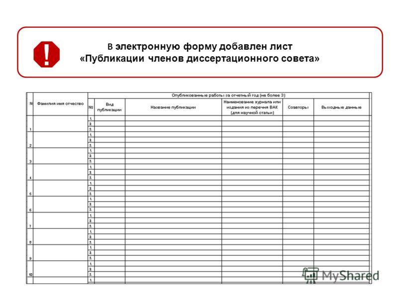 В электронную форму добавлен лист «Публикации членов диссертационного совета»