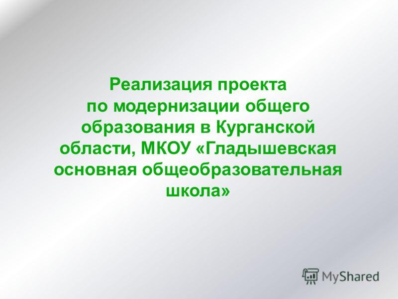 Реализация проекта по модернизации общего образования в Курганской области, МКОУ «Гладышевская основная общеобразовательная школа»