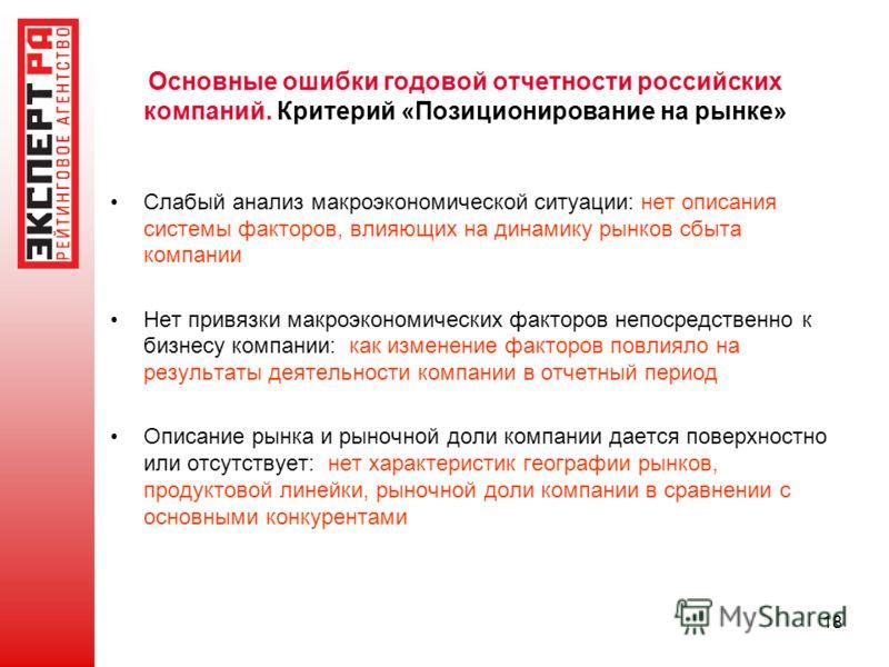 Основные ошибки годовой отчетности российских компаний. Критерий «Позиционирование на рынке» Слабый анализ макроэкономической ситуации: нет описания системы факторов, влияющих на динамику рынков сбыта компании Нет привязки макроэкономических факторов