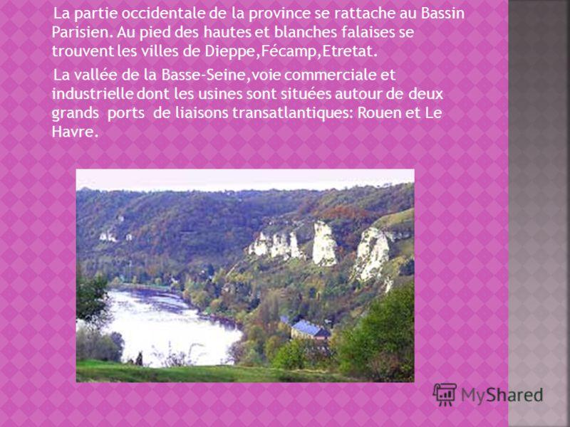 La partie occidentale de la province se rattache au Bassin Parisien. Au pied des hautes et blanches falaises se trouvent les villes de Dieppe,Fécamp,Etretat. La vallée de la Basse-Seine,voie commerciale et industrielle dont les usines sont situées au