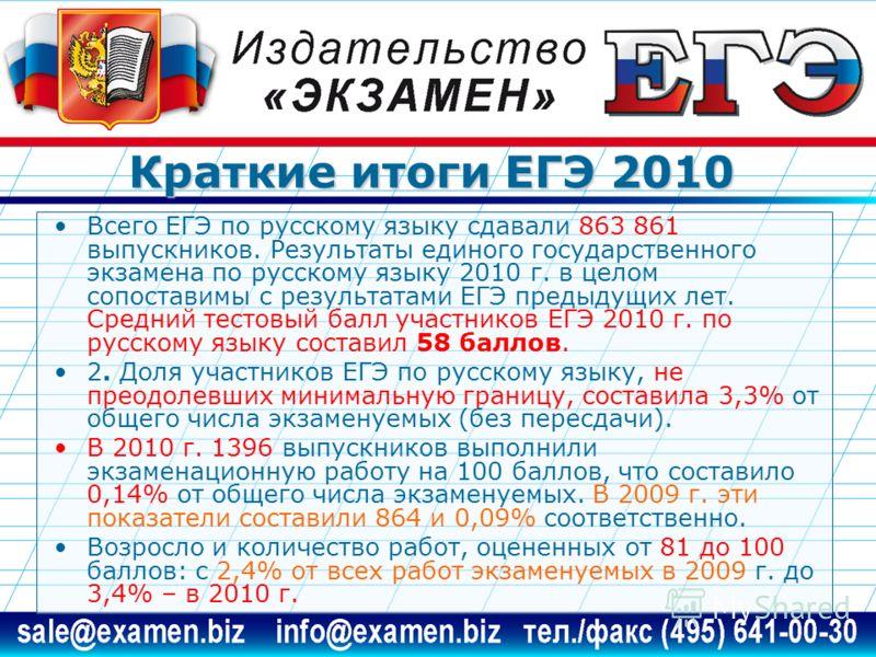 Краткие итоги ЕГЭ 2010 Всего ЕГЭ по русскому языку сдавали 863 861 выпускников. Результаты единого государственного экзамена по русскому языку 2010 г. в целом сопоставимы с результатами ЕГЭ предыдущих лет. Средний тестовый балл участников ЕГЭ 2010 г.