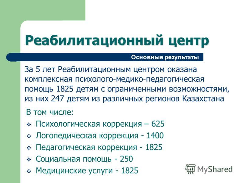 Реабилитационный центр За 5 лет Реабилитационным центром оказана комплексная психолого-медико-педагогическая помощь 1825 детям с ограниченными возможностями, из них 247 детям из различных регионов Казахстана В том числе: Психологическая коррекция – 6