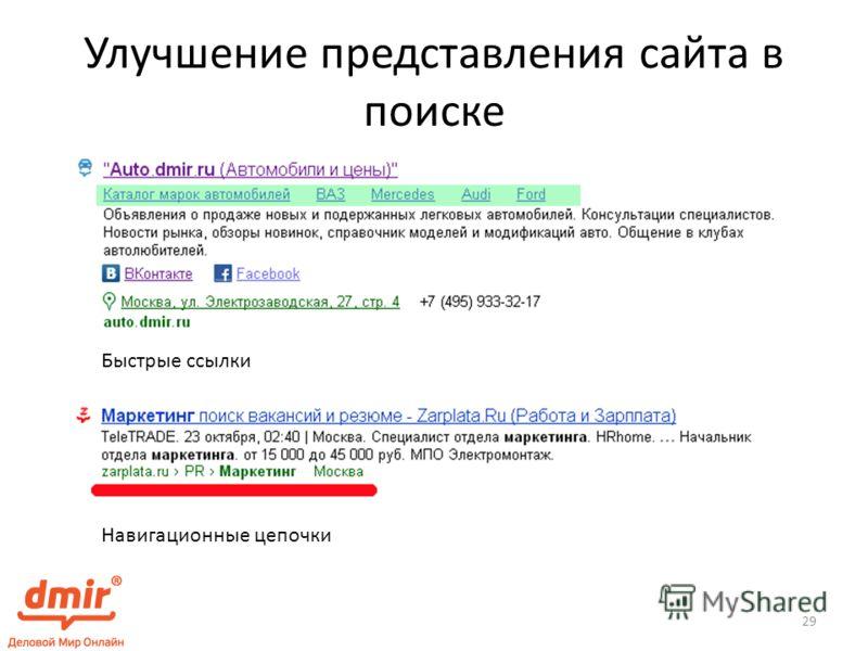 Улучшение представления сайта в поиске Быстрые ссылки Навигационные цепочки 29