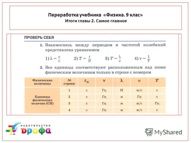 Переработка учебника «Физика. 9 клас» Итоги главы 2. Самое главное