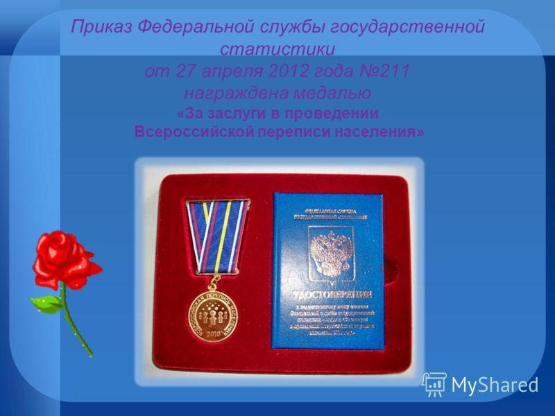 Приказ Федеральной службы государственной статистики от 27 апреля 2012 года 211 награждена медалью «За заслуги в проведении Всероссийской переписи населения»