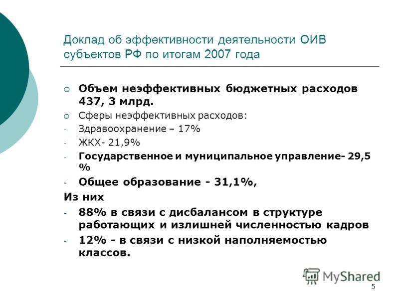 5 Доклад об эффективности деятельности ОИВ субъектов РФ по итогам 2007 года Объем неэффективных бюджетных расходов 437, 3 млрд. Сферы неэффективных расходов: - Здравоохранение – 17% - ЖКХ- 21,9% - Государственное и муниципальное управление- 29,5 % -