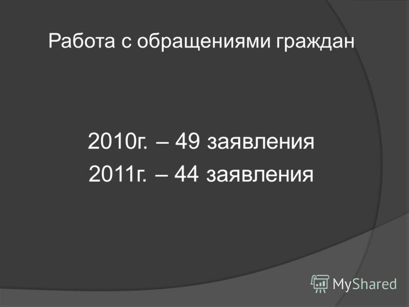Работа с обращениями граждан 2010г. – 49 заявления 2011г. – 44 заявления