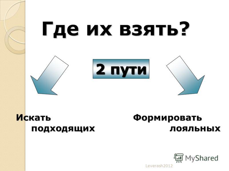 Leverash2012 Где их взять? 2 пути Искать подходящих подходящихФормировать лояльных лояльных