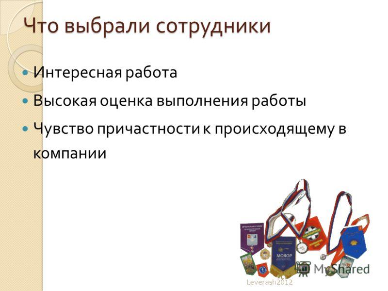 Что выбрали сотрудники Интересная работа Высокая оценка выполнения работы Чувство причастности к происходящему в компании Leverash2012