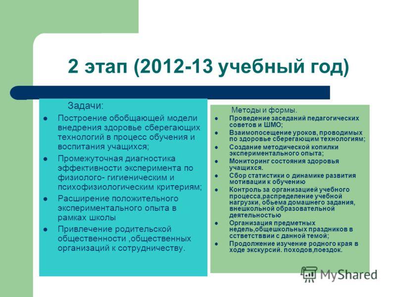 2 этап (2012-13 учебный год) Задачи: Построение обобщающей модели внедрения здоровье сберегающих технологий в процесс обучения и воспитания учащихся; Промежуточная диагностика эффективности эксперимента по физиолого- гигиеническим и психофизиологичес
