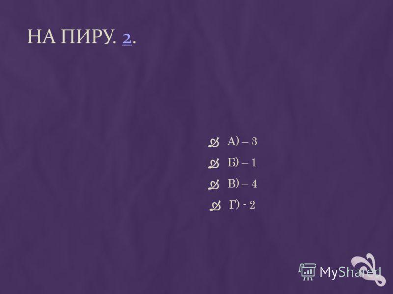 НА ПИРУ. 2.2 А) – 3 Б) – 1 В) – 4 Г) - 2