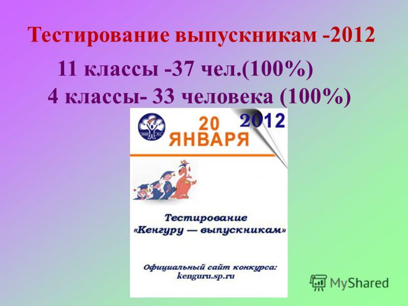 Тестирование выпускникам -2012 11 классы -37 чел.(100%) 4 классы- 33 человека (100%)