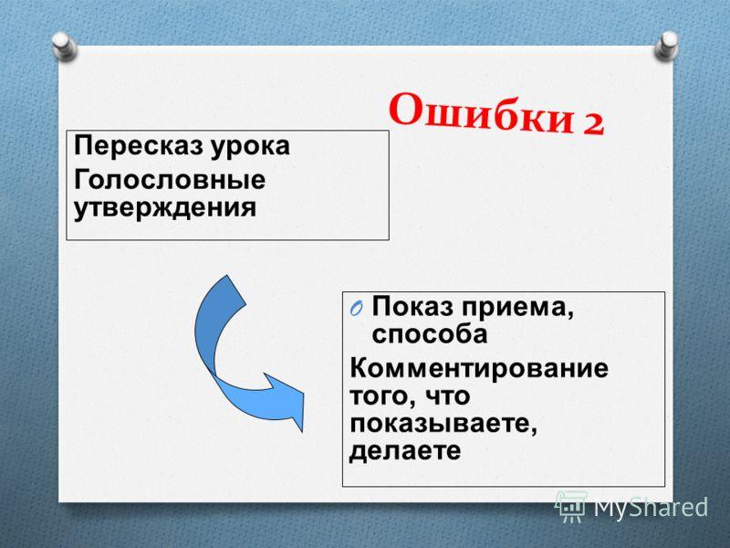 Ошибки 2 Пересказ урока Голословные утверждения O Показ приема, способа Комментирование того, что показываете, делаете
