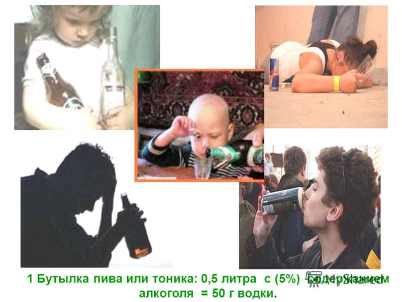 1 Бутылка пива или тоника: 0,5 литра с (5%) содержанием алкоголя = 50 г водки.