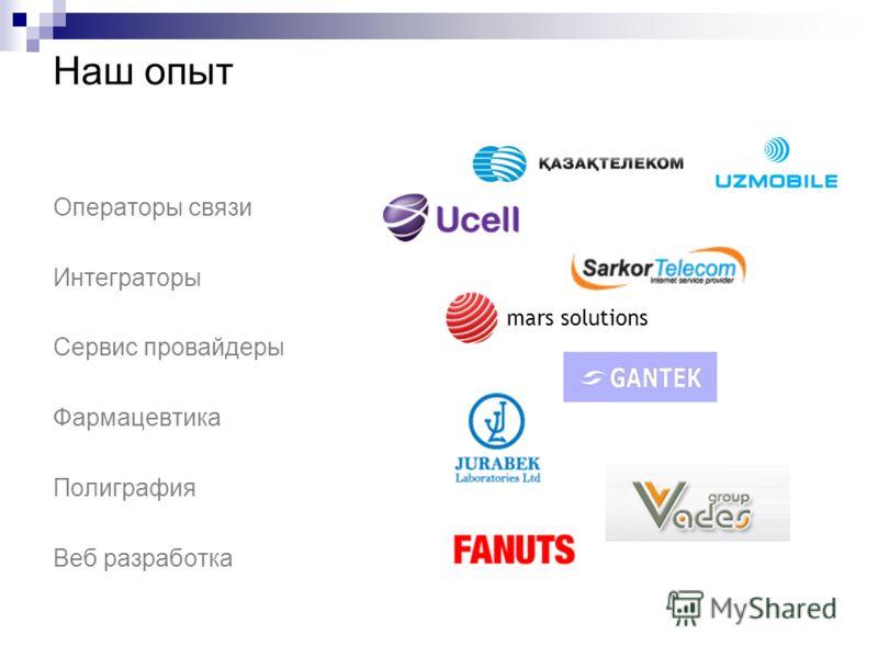 Наш опыт Операторы связи Интеграторы Сервис провайдеры Фармацевтика Полиграфия Веб разработка mars solutions