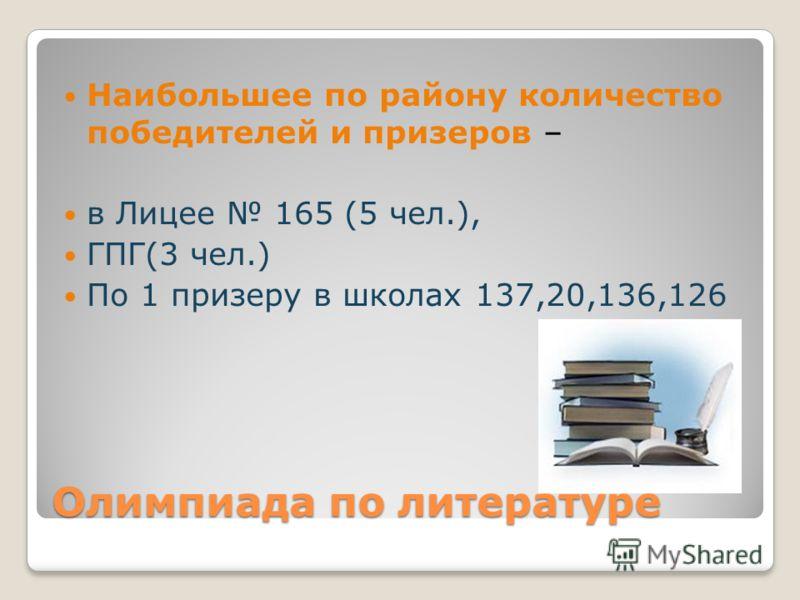 Олимпиада по литературе Наибольшее по району количество победителей и призеров – в Лицее 165 (5 чел.), ГПГ(3 чел.) По 1 призеру в школах 137,20,136,126
