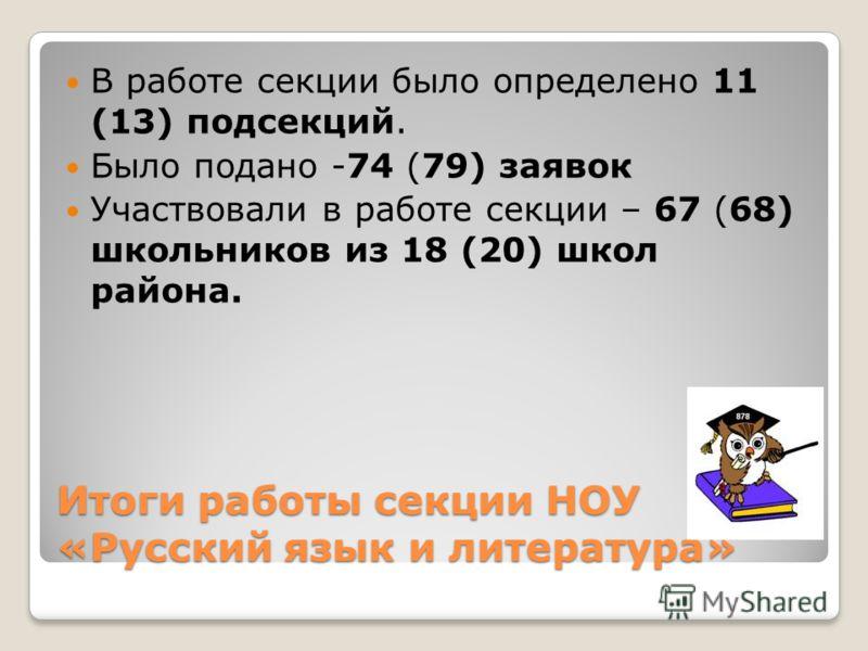 Итоги работы секции НОУ «Русский язык и литература» В работе секции было определено 11 (13) подсекций. Было подано -74 (79) заявок Участвовали в работе секции – 67 (68) школьников из 18 (20) школ района.
