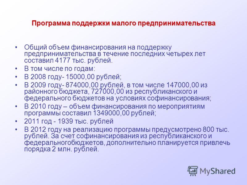 Программа поддержки малого предпринимательства Общий объем финансирования на поддержку предпринимательства в течение последних четырех лет составил 4177 тыс. рублей. В том числе по годам: В 2008 году- 15000,00 рублей; В 2009 году- 874000,00 рублей, в