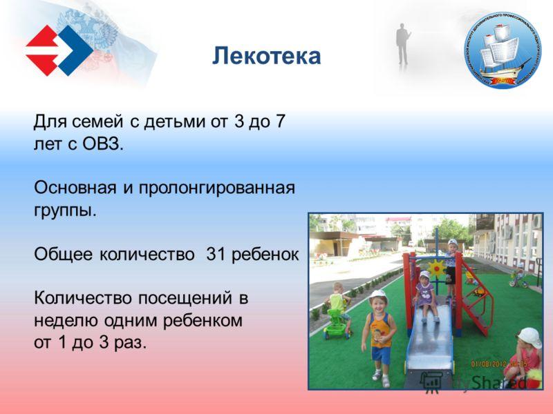 Для семей с детьми от 3 до 7 лет с ОВЗ. Основная и пролонгированная группы. Общее количество 31 ребенок Количество посещений в неделю одним ребенком от 1 до 3 раз. Лекотека