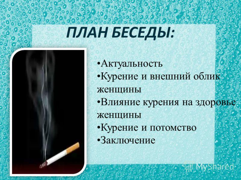 ПЛАН БЕСЕДЫ: Актуальность Курение и внешний облик женщины Влияние курения на здоровье женщины Курение и потомство Заключение