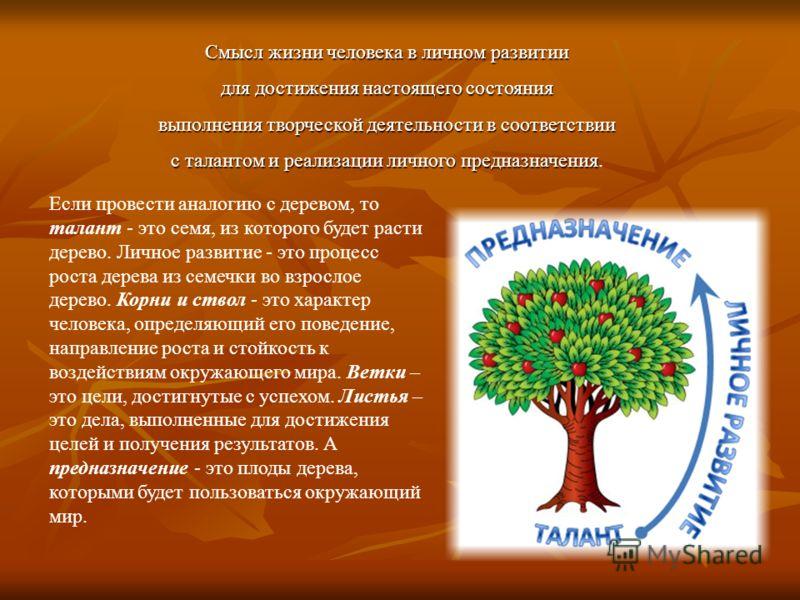 Если провести аналогию с деревом, то талант - это семя, из которого будет расти дерево. Личное развитие - это процесс роста дерева из семечки во взрослое дерево. Корни и ствол - это характер человека, определяющий его поведение, направление роста и с