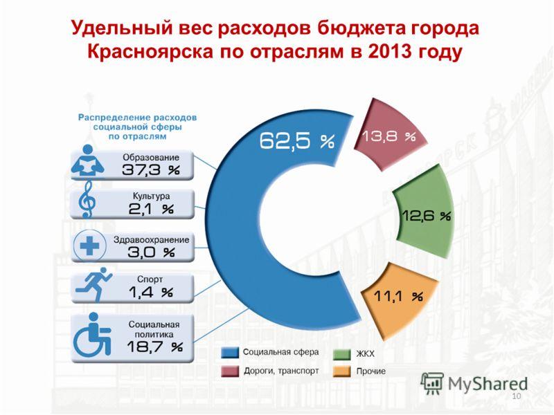 Удельный вес расходов бюджета города Красноярска по отраслям в 2013 году 10