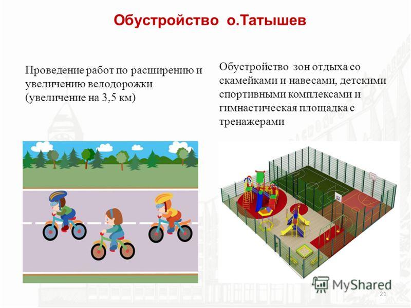 Обустройство о.Татышев Обустройство зон отдыха со скамейками и навесами, детскими спортивными комплексами и гимнастическая площадка с тренажерами 21 Проведение работ по расширению и увеличению велодорожки (увеличение на 3,5 км)