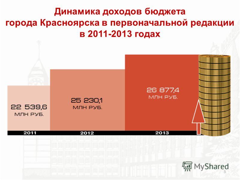 Динамика доходов бюджета города Красноярска в первоначальной редакции в 2011-2013 годах 3