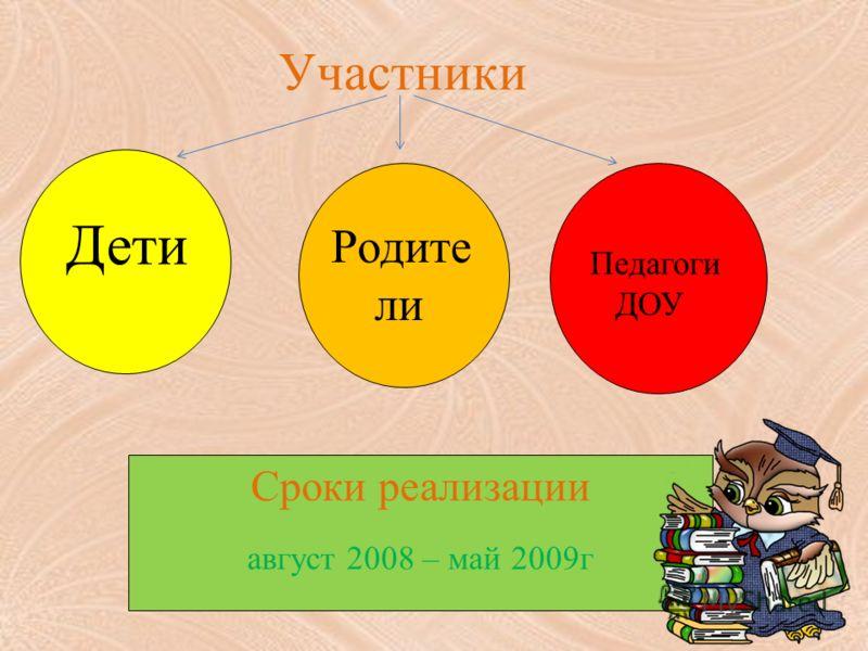 Участники Дети Родите ли Педагоги ДОУ Сроки реализации август 2008 – май 2009г