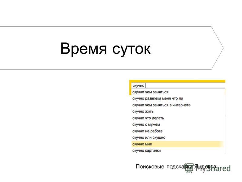 Поисковые подсказки Яндекса Время суток