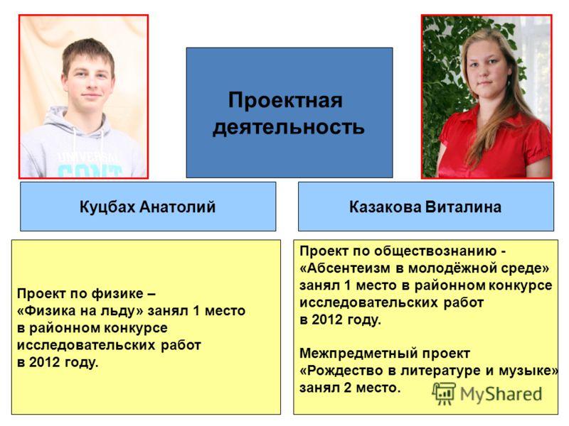 Проектная деятельность Куцбах АнатолийКазакова Виталина Проект по физике – «Физика на льду» занял 1 место в районном конкурсе исследовательских работ в 2012 году. Проект по обществознанию - «Абсентеизм в молодёжной среде» занял 1 место в районном кон
