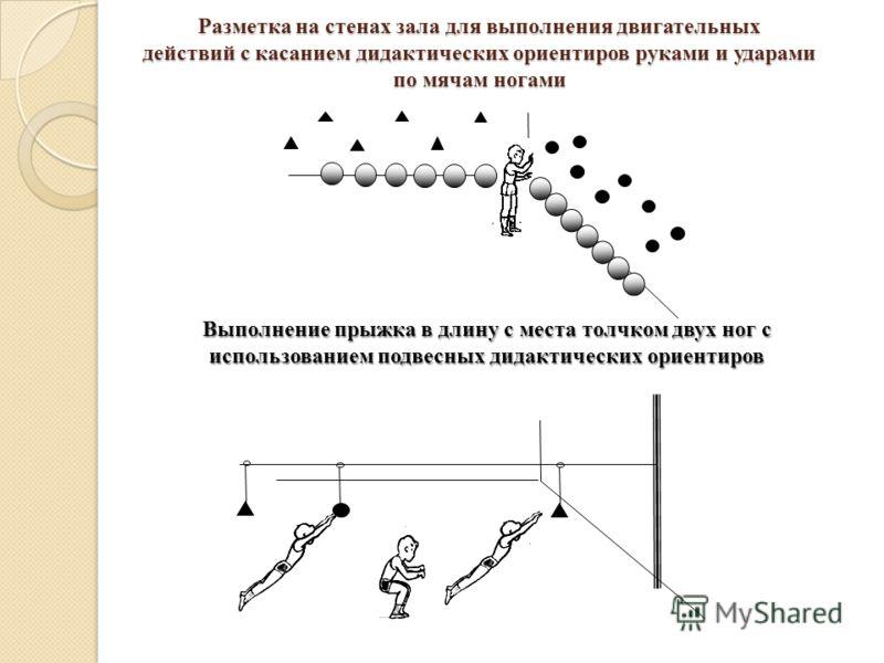 Разметка на стенах зала для выполнения двигательных действий с касанием дидактических ориентиров руками и ударами по мячам ногами Выполнение прыжка в длину с места толчком двух ног с использованием подвесных дидактических ориентиров