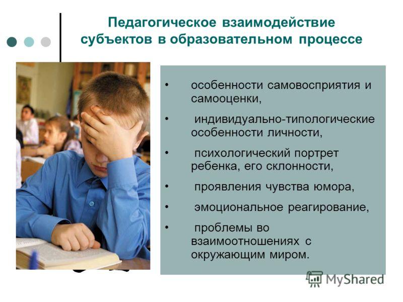 Педагогическое взаимодействие субъектов в образовательном процессе особенности самовосприятия и самооценки, индивидуально-типологические особенности личности, психологический портрет ребенка, его склонности, проявления чувства юмора, эмоциональное ре