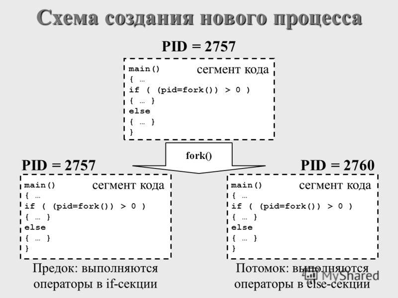 fork() Потомок: выполняются операторы в else-секции Предок: выполняются операторы в if-секции PID = 2757 main() { … if ( (pid=fork()) > 0 ) { … } else { … } } сегмент кода PID = 2757 main() { … if ( (pid=fork()) > 0 ) { … } else { … } } сегмент кода