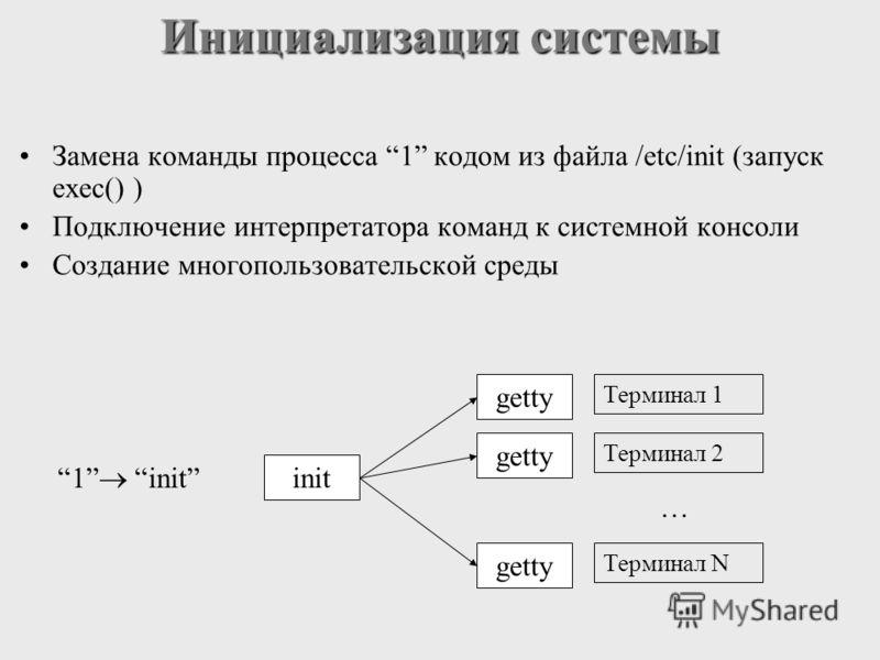 Инициализация системы Замена команды процесса 1 кодом из файла /etс/init (запуск exec() ) Подключение интерпретатора команд к системной консоли Создание многопользовательской среды getty Терминал 1 Терминал 2 Терминал N … init 1 init