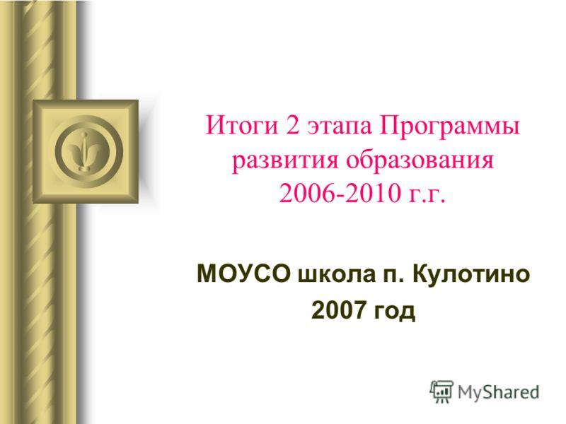 Итоги 2 этапа Программы развития образования 2006-2010 г.г. МОУСО школа п. Кулотино 2007 год