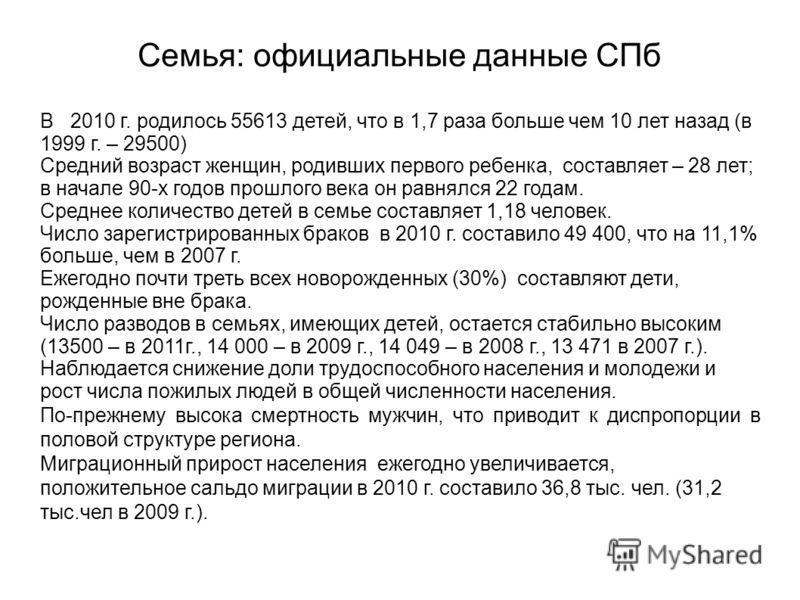 Семья: официальные данные СПб В 2010 г. родилось 55613 детей, что в 1,7 раза больше чем 10 лет назад (в 1999 г. – 29500) Средний возраст женщин, родивших первого ребенка, составляет – 28 лет; в начале 90-х годов прошлого века он равнялся 22 годам. Ср