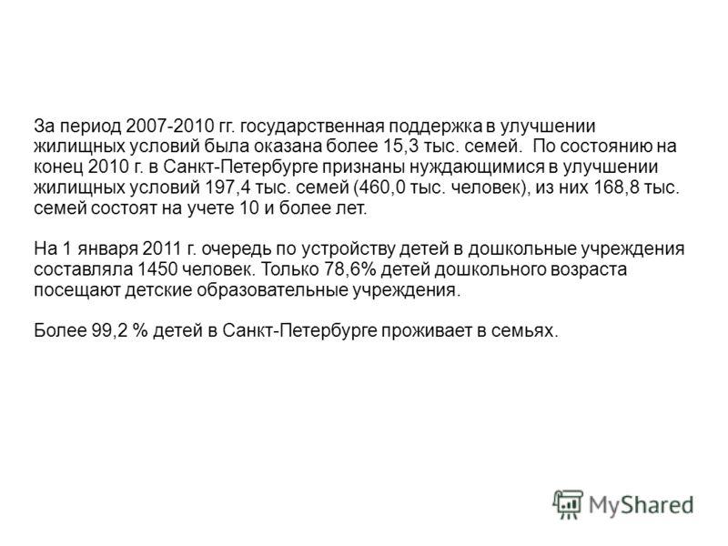 За период 2007-2010 гг. государственная поддержка в улучшении жилищных условий была оказана более 15,3 тыс. семей. По состоянию на конец 2010 г. в Санкт-Петербурге признаны нуждающимися в улучшении жилищных условий 197,4 тыс. семей (460,0 тыс. челове