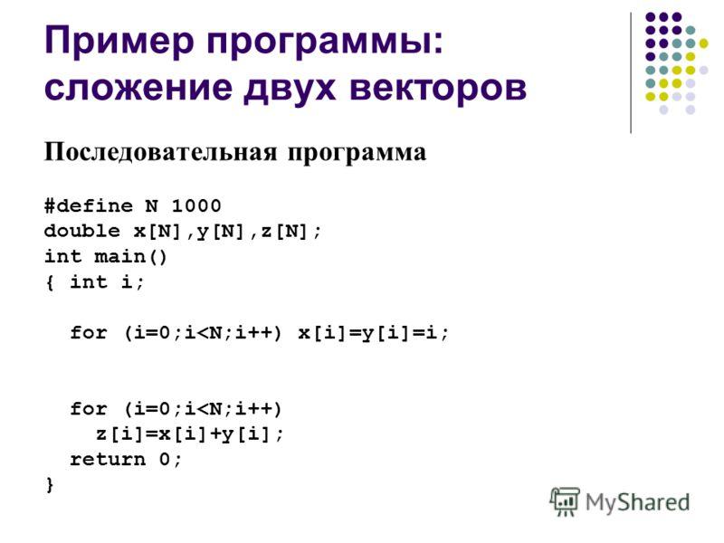 Пример программы: сложение двух векторов Последовательная программа #define N 1000 double x[N],y[N],z[N]; int main() { int i; for (i=0;i