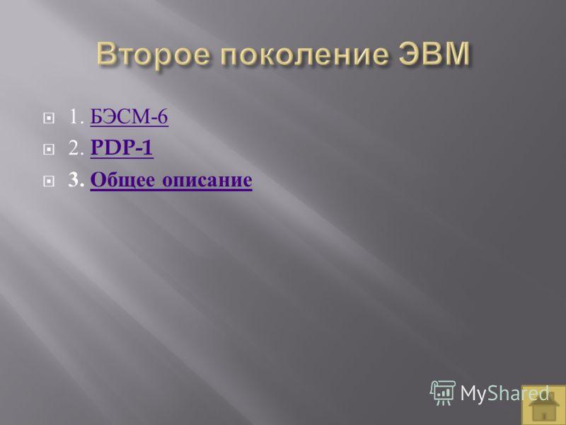 1. БЭСМ -6 БЭСМ -6 2. PDP-1 PDP-1 3. Общее описание Общее описание