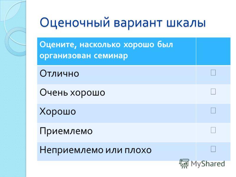Оценочный вариант шкалы Оцените, насколько хорошо был организован семинар Отлично Очень хорошо Хорошо Приемлемо Неприемлемо или плохо