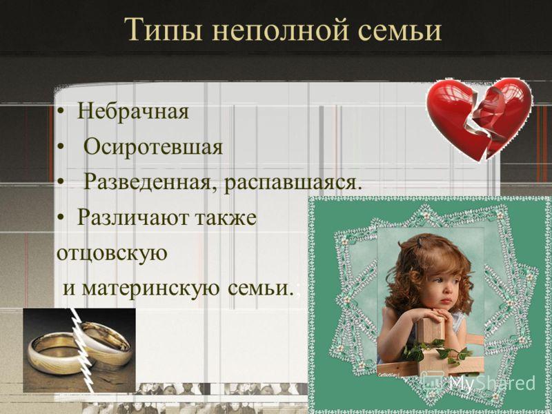 Типы неполной семьи Небрачная Осиротевшая Разведенная, распавшаяся. Различают также отцовскую и материнскую семьи.;
