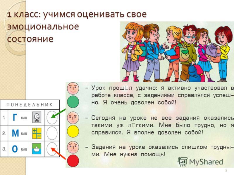 1 класс : учимся оценивать свое эмоциональное состояние 5