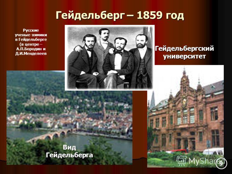 Гейдельберг – 1859 год Вид Гейдельберга Гейдельбергский университет Русские ученые-химики в Гейдельберге (в центре – А.П.Бородин и Д.И.Менделеев 9