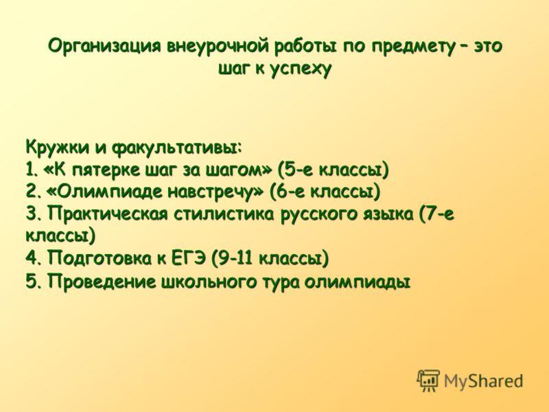 Организация внеурочной работы по предмету – это шаг к успеху Кружки и факультативы: 1. «К пятерке шаг за шагом» (5-е классы) 2. «Олимпиаде навстречу» (6-е классы) 3. Практическая стилистика русского языка (7-е классы) 4. Подготовка к ЕГЭ (9-11 классы